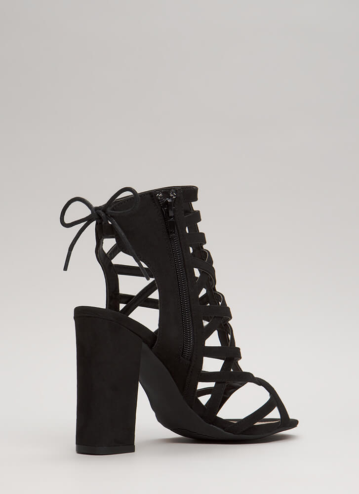 Back With My X's Chunky Caged Heels BLACK