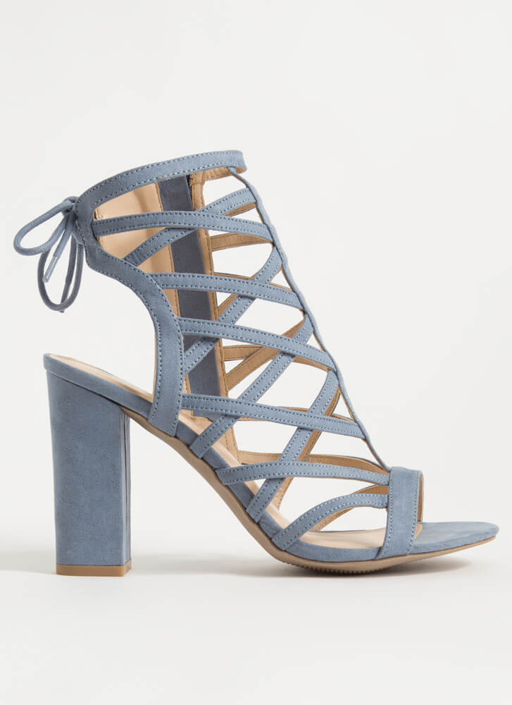 Back With My X's Chunky Caged Heels BLUE