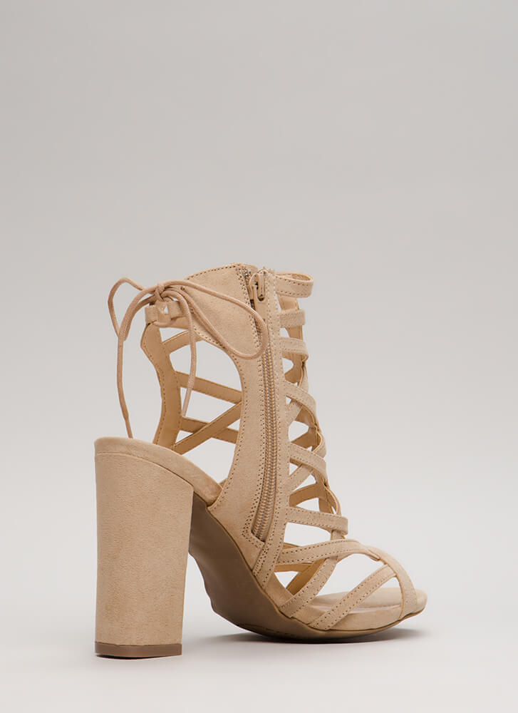 Back With My X's Chunky Caged Heels NATURAL