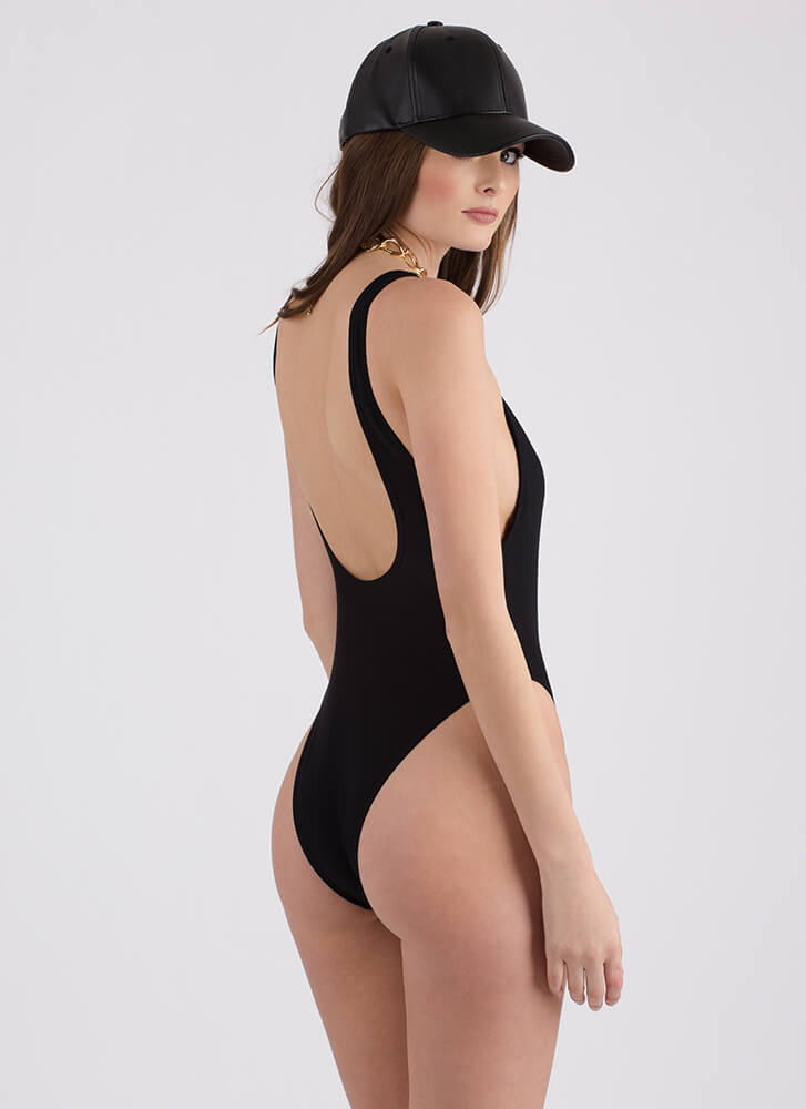 Taking The Plunge Solid Swimsuit BLACK (Final Sale)