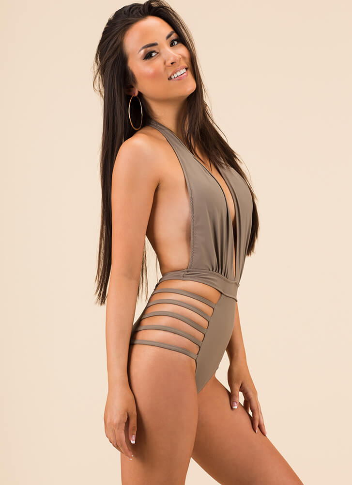 Strappy Place Plunging Halter Swimsuit TAUPE (Final Sale)