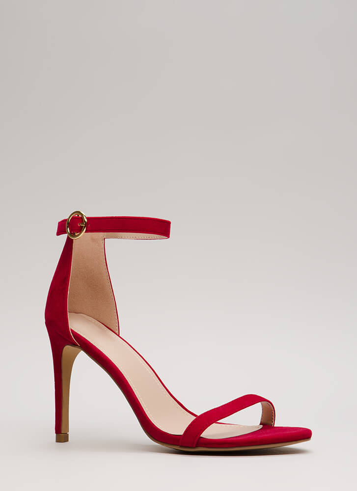 Skinny Dipping Ankle Strap Heels RED