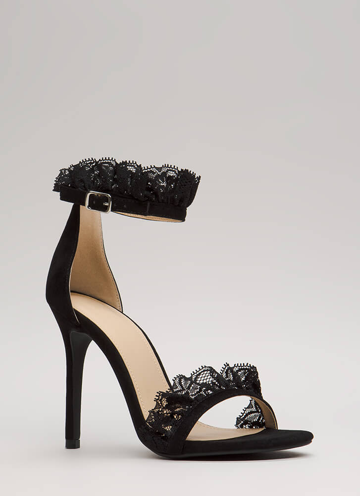 Frilled To Bits Ruffled Lace Trim Heels BLACK