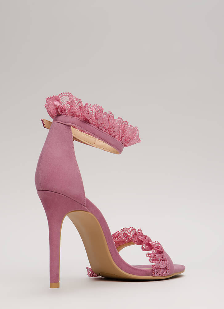 Frilled To Bits Ruffled Lace Trim Heels MAUVE
