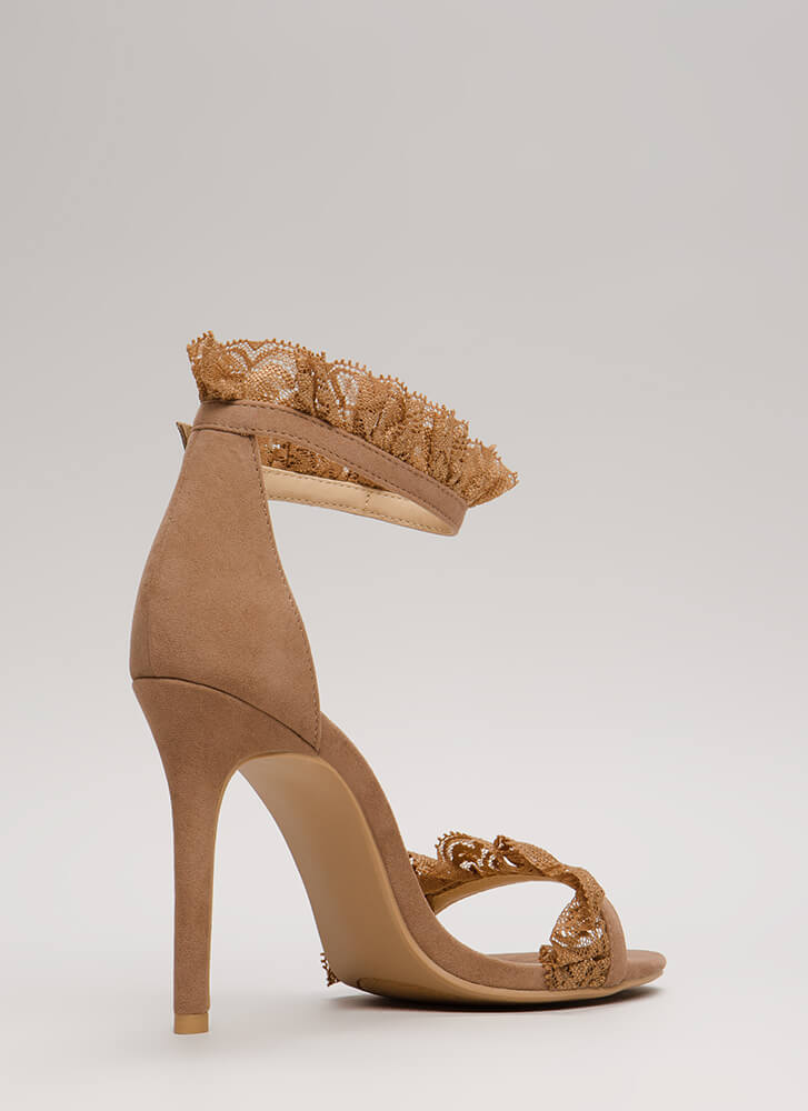 Frilled To Bits Ruffled Lace Trim Heels TAUPE