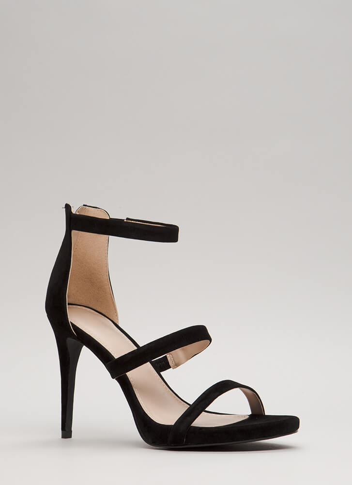 Easy As One Two Three Strappy Heels BLACK