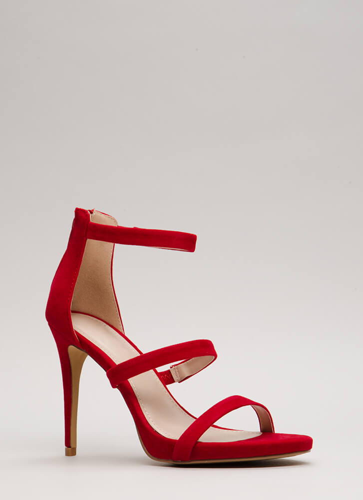 Easy As One Two Three Strappy Heels RED