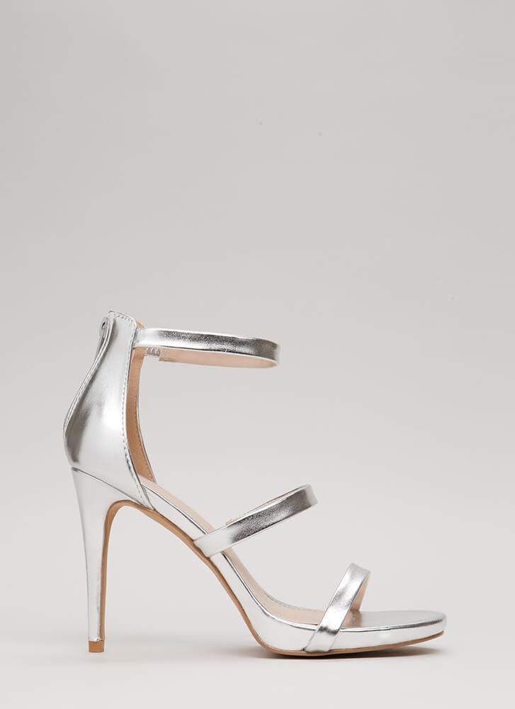 Easy As One Two Three Strappy Heels SILVER
