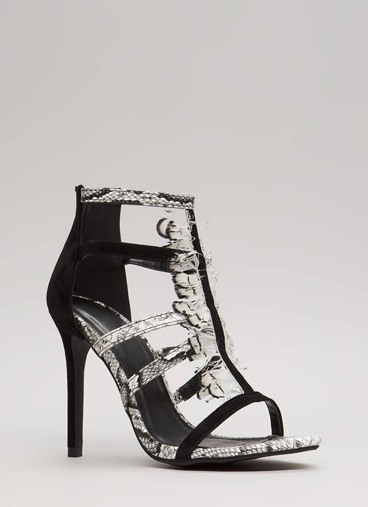 Feathered Reptile Strappy Caged Heels BLACK