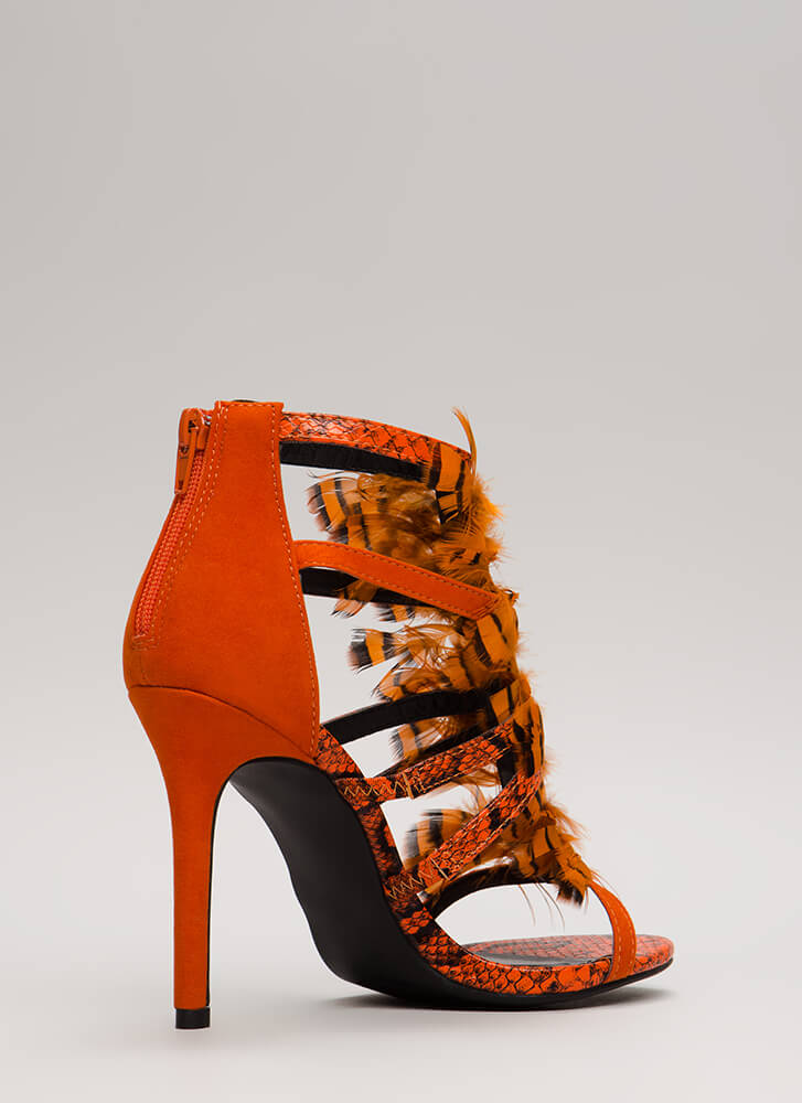 Feathered Reptile Strappy Caged Heels ORANGE