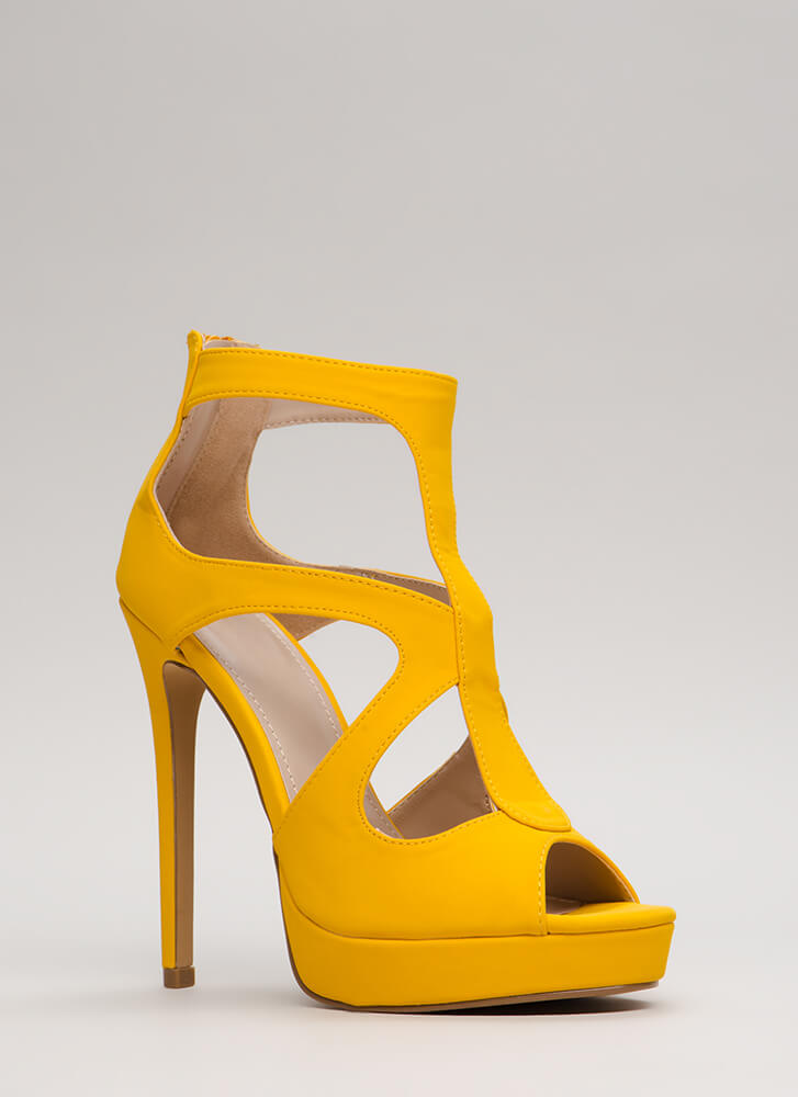 A Cut-Out Above Caged Platform Heels YELLOW