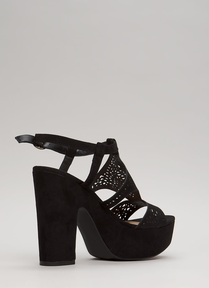 Lace Lover Chunky Cut-Out Platforms BLACK