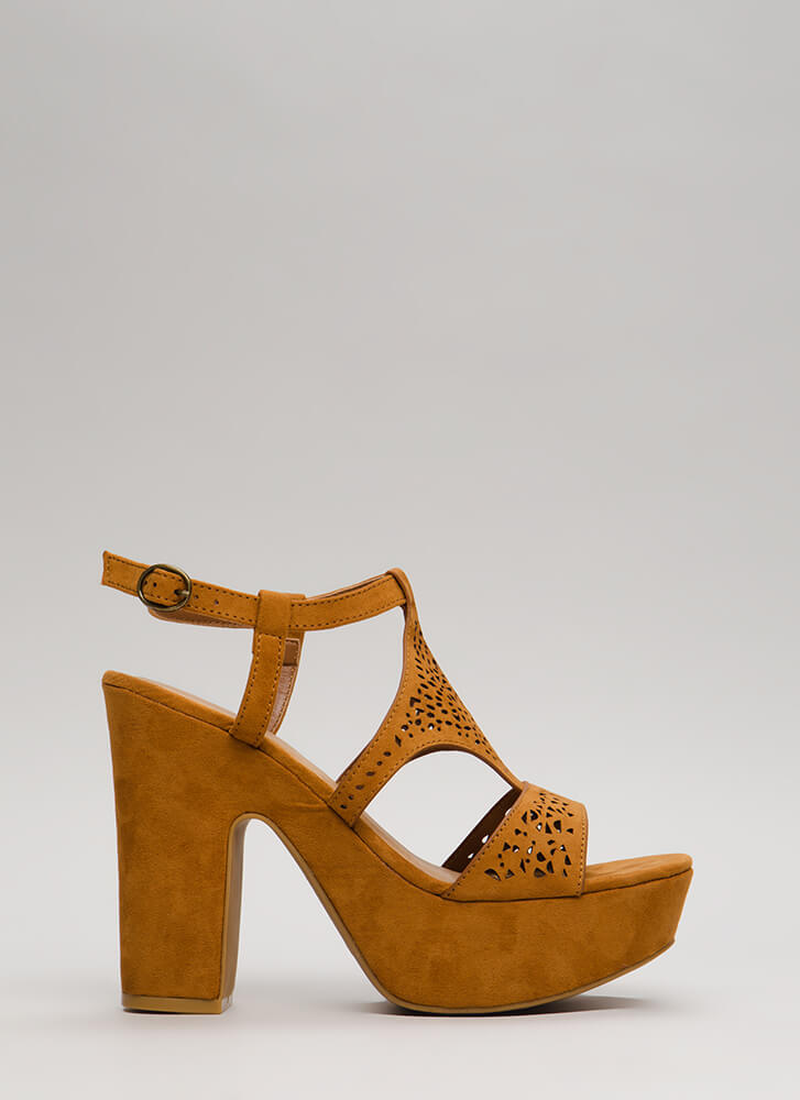 Lace Lover Chunky Cut-Out Platforms COGNAC