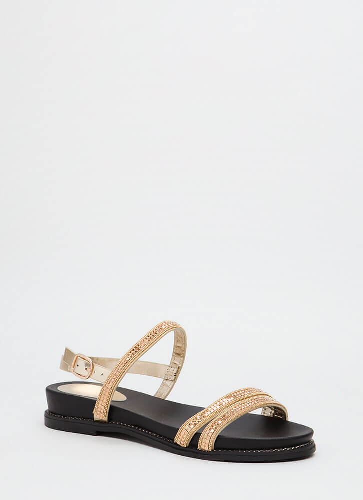 Mirror Mirror Shiny Embellished Sandals GOLD