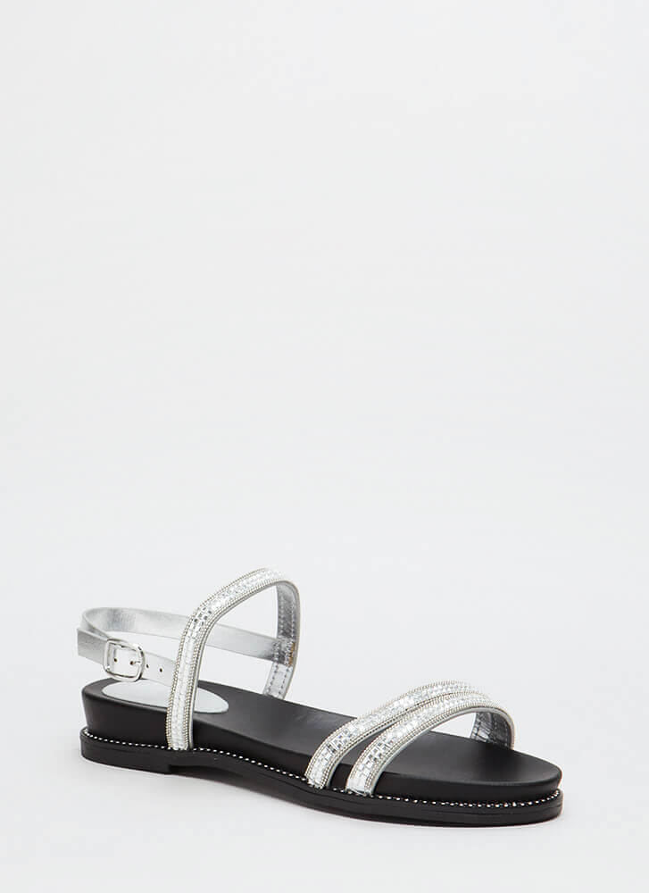 Mirror Mirror Shiny Embellished Sandals SILVER