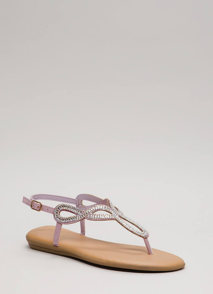 In The Loop Padded Jeweled Sandals LILAC