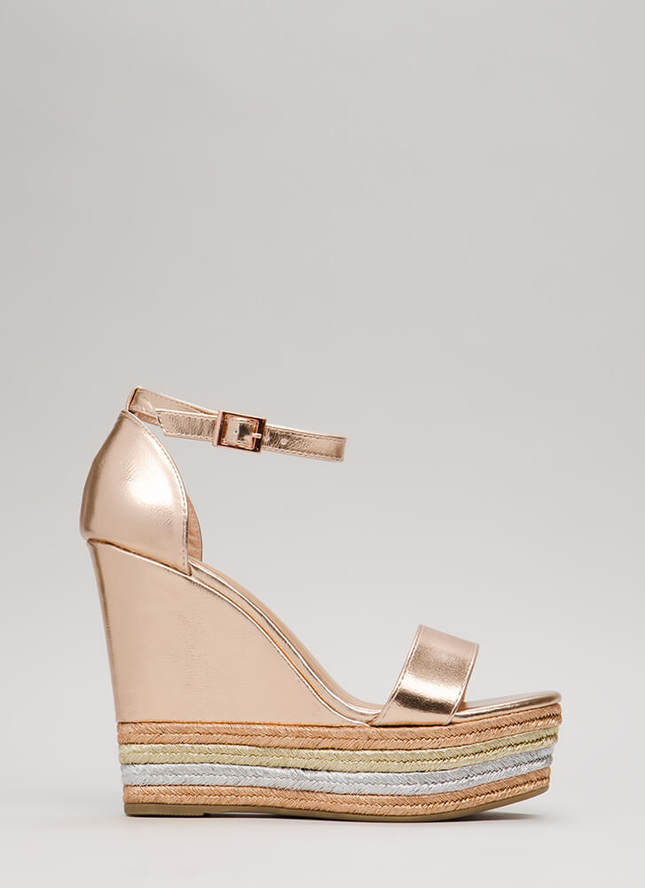 Right Choice Metallic Ankle Strap Wedges ROSEGOLD (Final Sale)