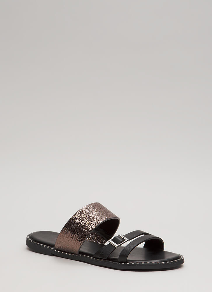 All In The Details Strappy Slide Sandals BLACK