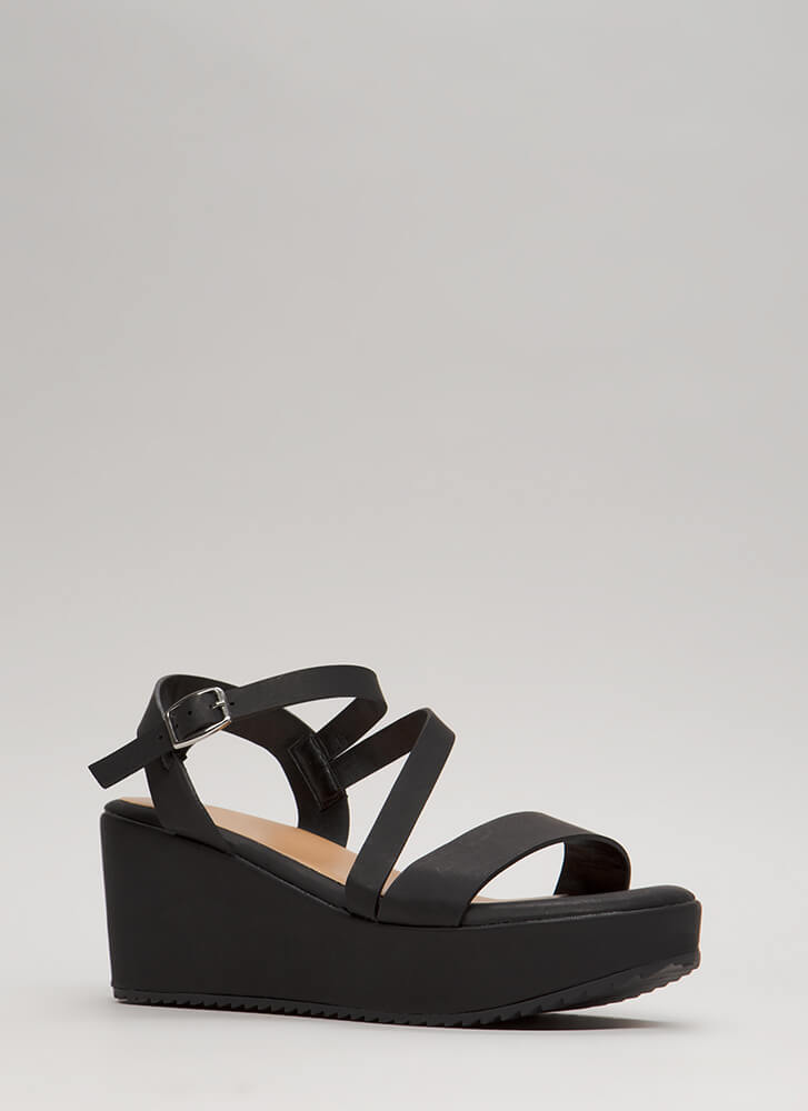 New Collection Strappy Platform Wedges BLACK