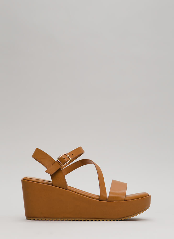New Collection Strappy Platform Wedges NATURAL