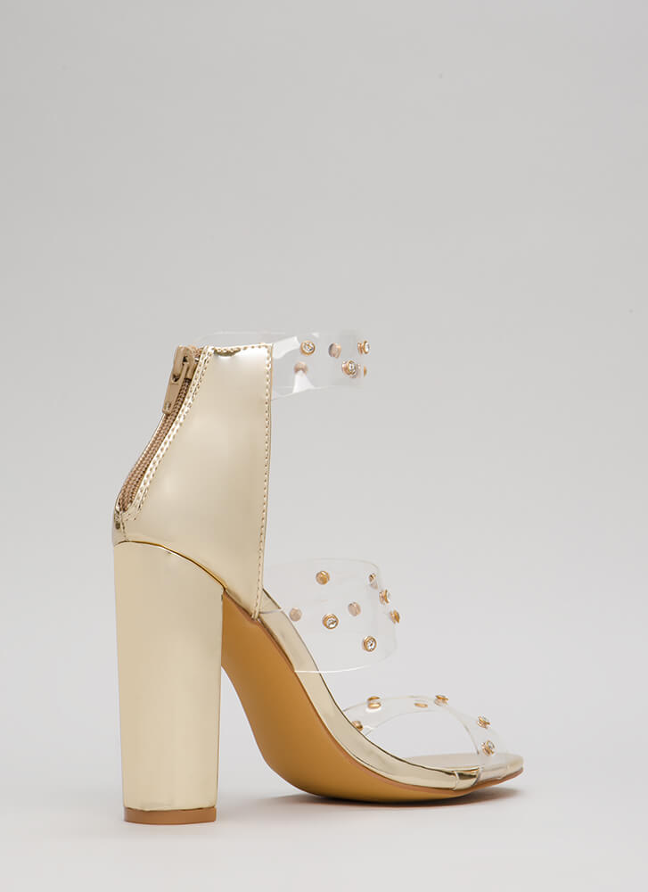 Clearly A Gem Jeweled Chunky Heels GOLD