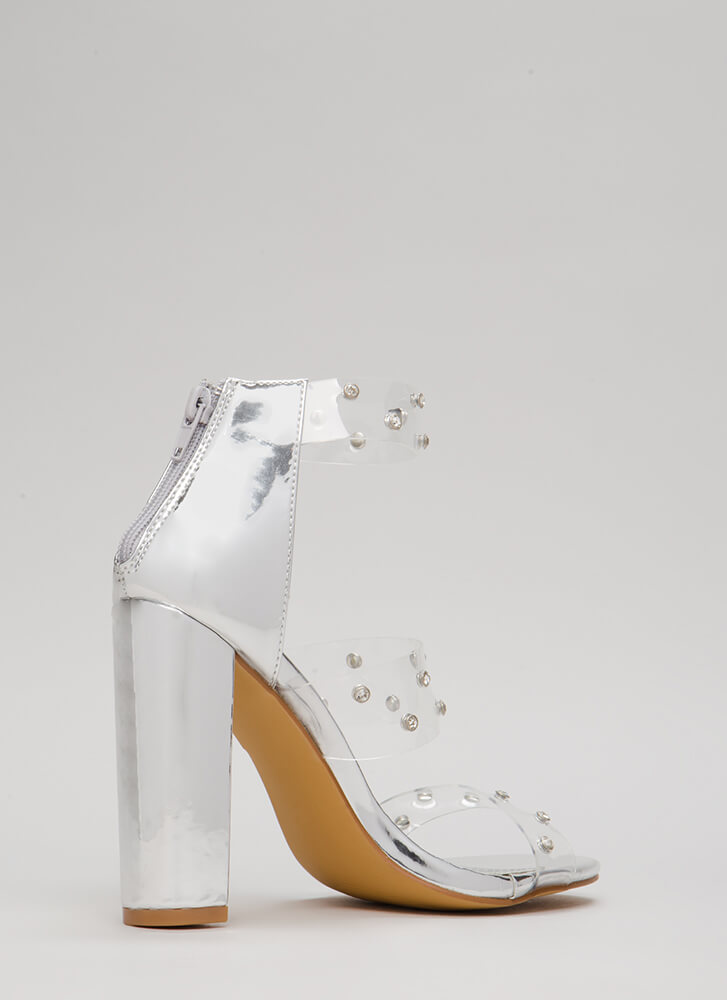 Clearly A Gem Jeweled Chunky Heels SILVER