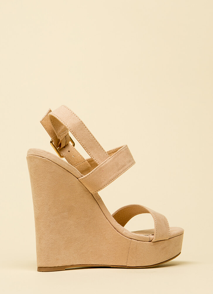 Top Hit Faux Suede Platform Wedges NUDE