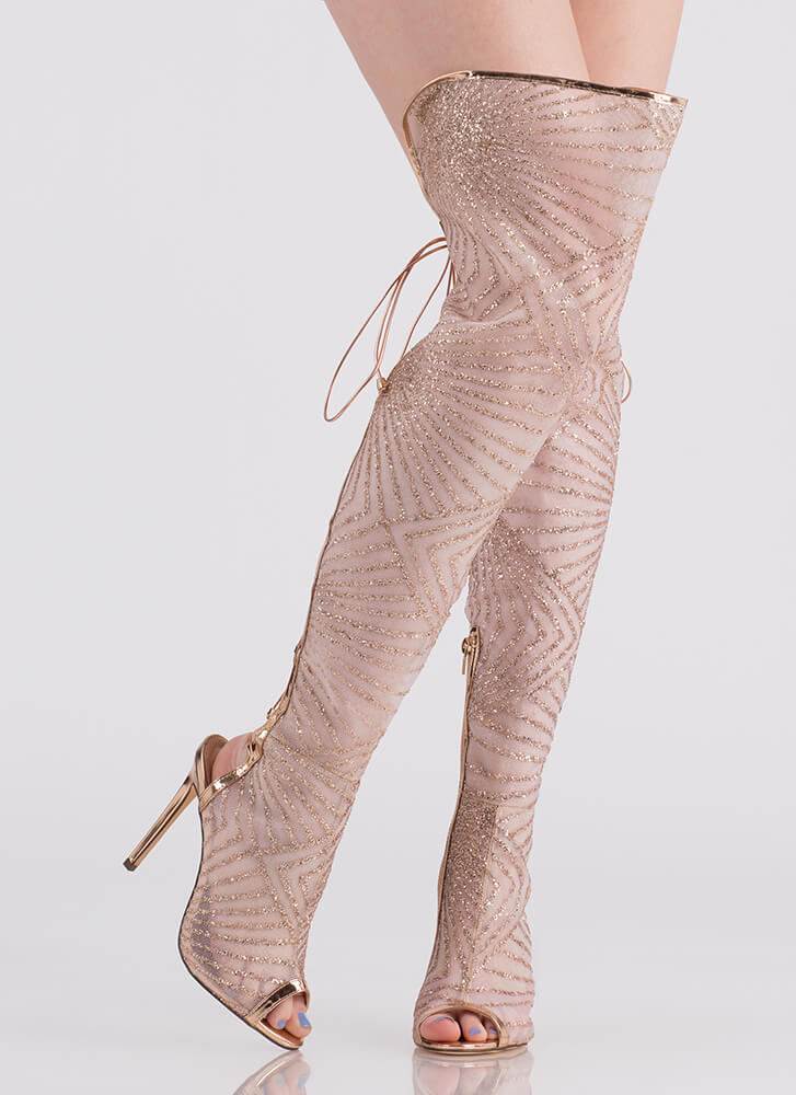 Glitz Lace-Back Thigh-High Boots CHAMPAGNE