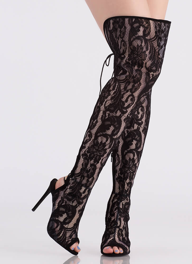 Lace And Lace-Back Thigh-High Boots BLACK