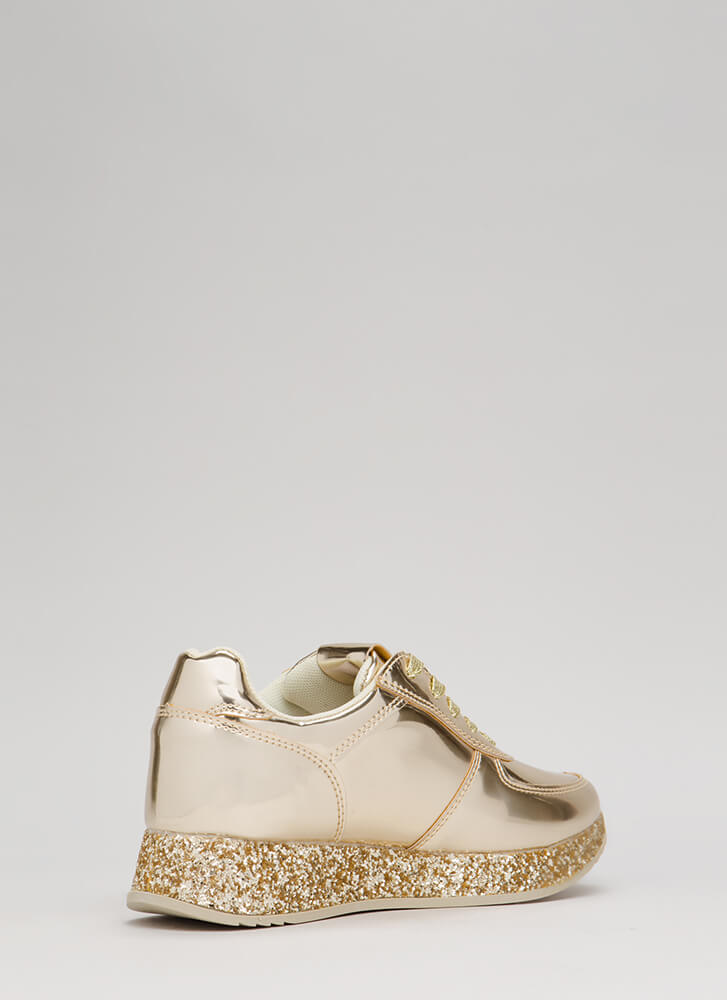 Glitter Girl Metallic Platform Sneakers GOLD