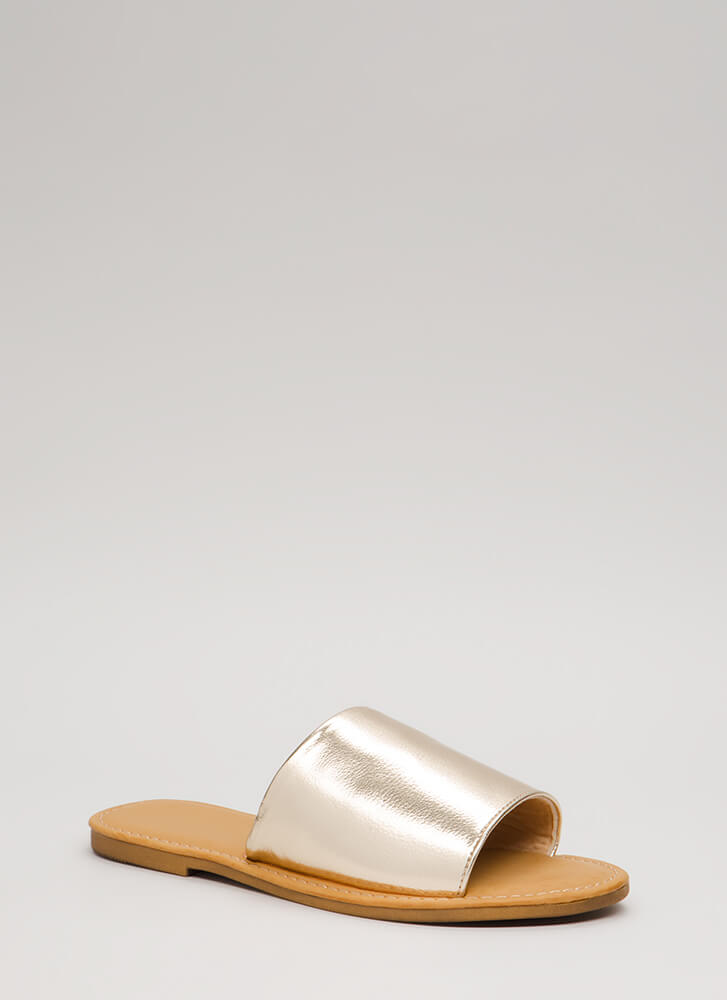 Going Afoot Faux Leather Slide Sandals GOLD