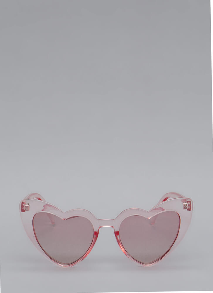 Heart Eyes Flared Sunglasses PINK