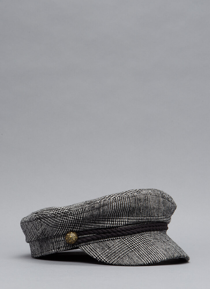 Go For A Spin Houndstooth Cabbie Cap GREY