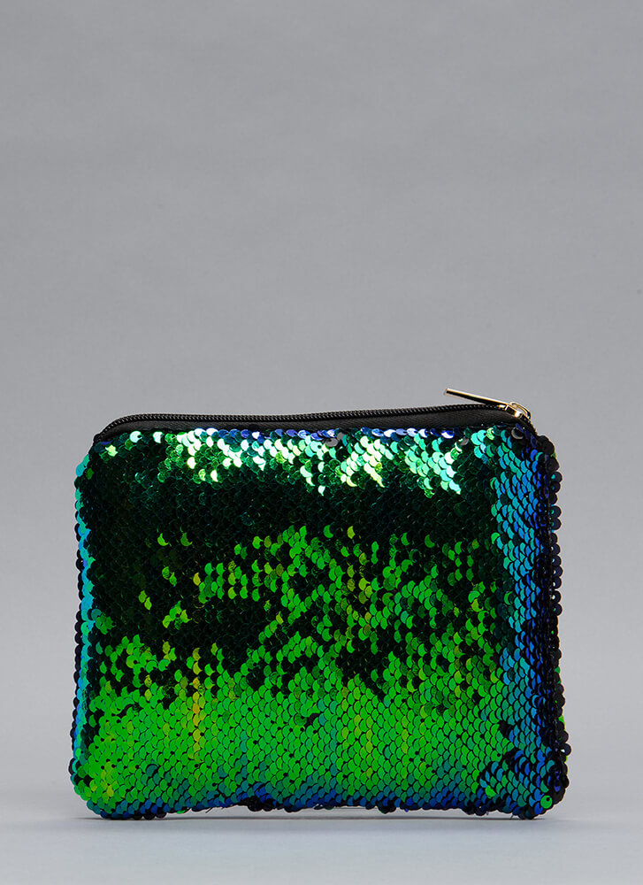 Catch The Light Sequined Clutch GREEN