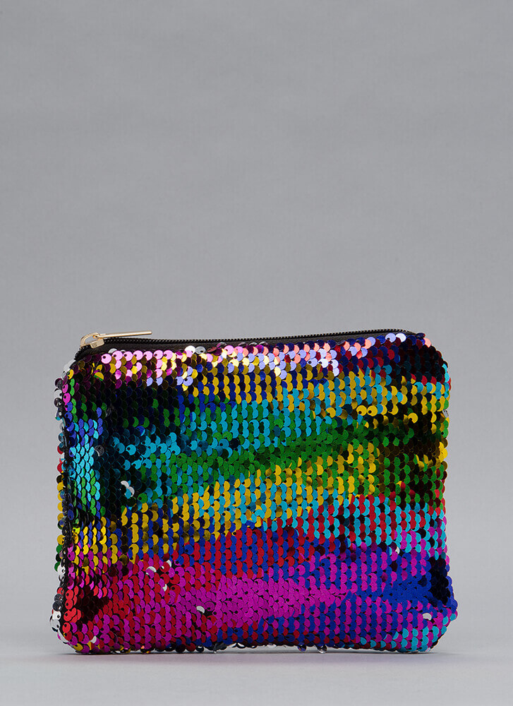 Catch The Light Sequined Clutch RAINBOW