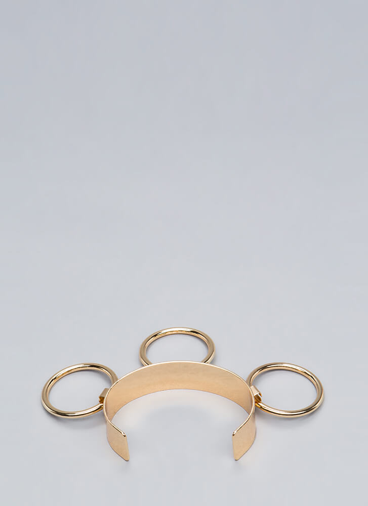 Knock Three Times Ringed Cuff Bracelet GOLD