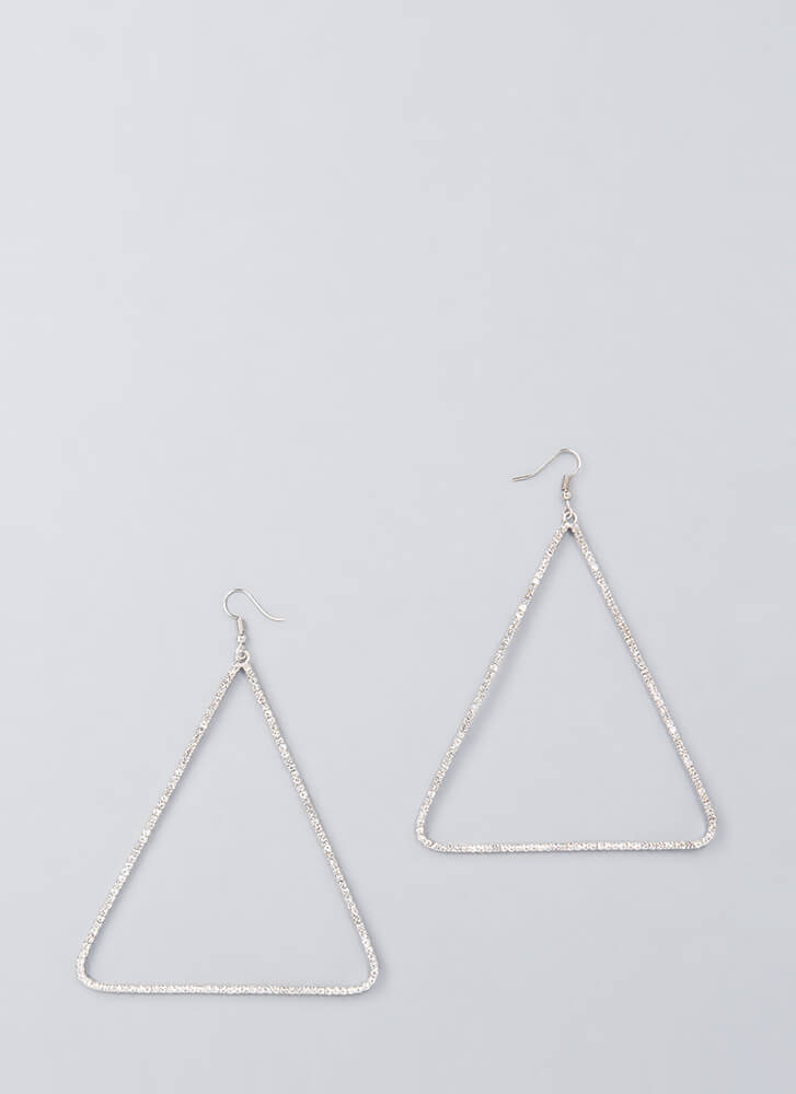 Count To Three Jeweled Triangle Earrings SILVER (You Saved $7)