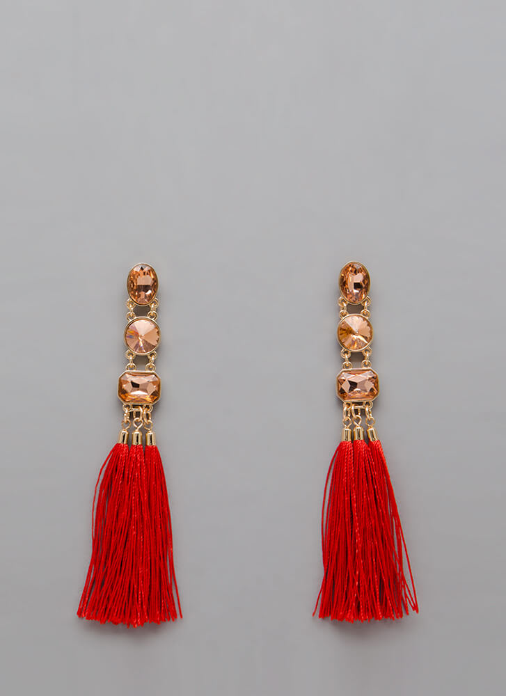 Three For All Jeweled Tassel Earrings RED