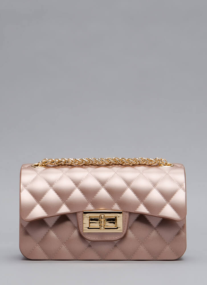 The Real Deal Quilted Jelly Mini Bag ROSEGOLD