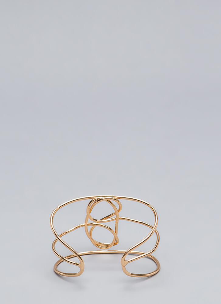 Abstract Ideas Wire Cuff Bracelet GOLD