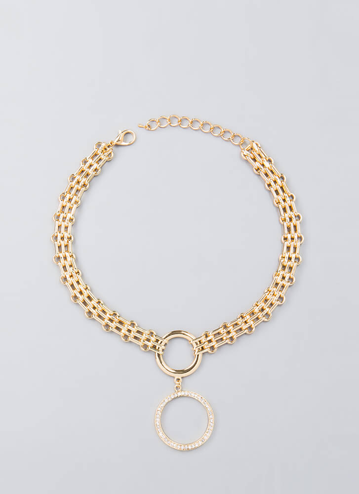 Ring-Ring Jeweled Chain Choker GOLD