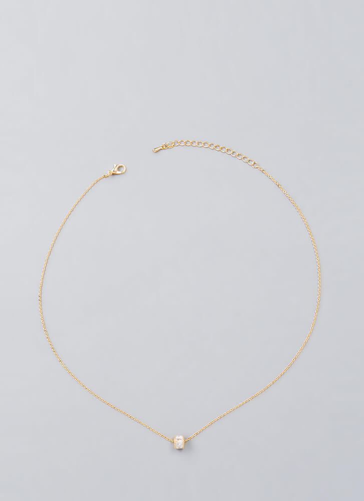 Drumroll Please Faux Crystal Necklace GOLD