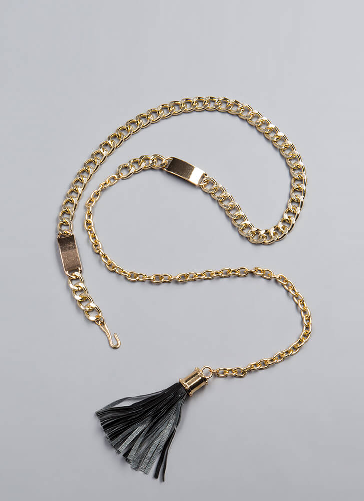 Strongest Link Chain And Tassel Belt GOLD