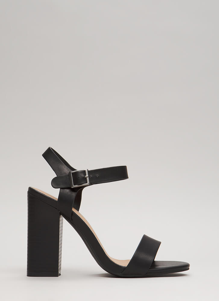 Out On The Town Strappy Chunky Heels BLACK