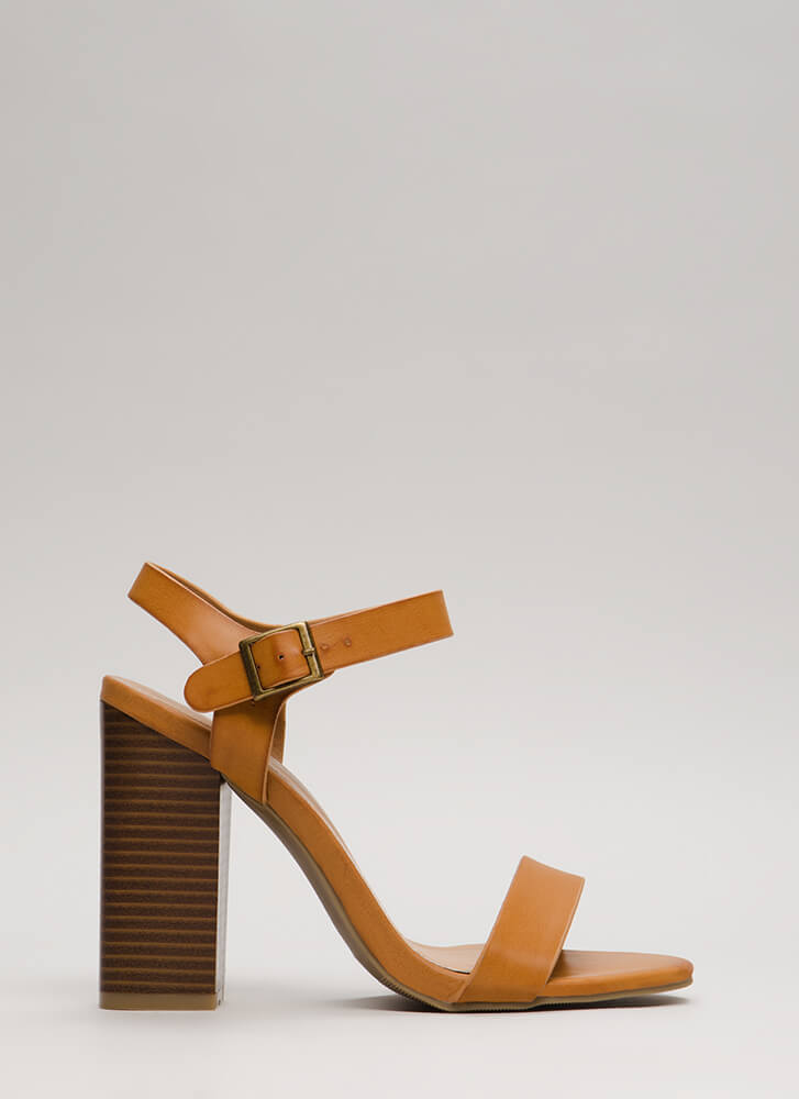Out On The Town Strappy Chunky Heels NATURAL