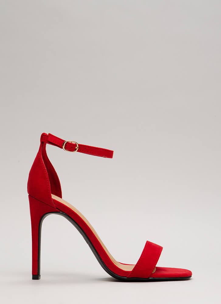 Simply Timeless Faux Suede Heels RED