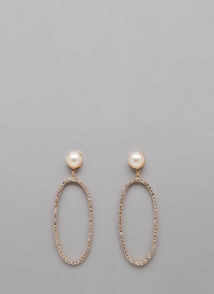 Oval The Top Jeweled Faux Pearl Earrings GOLD (Final Sale)