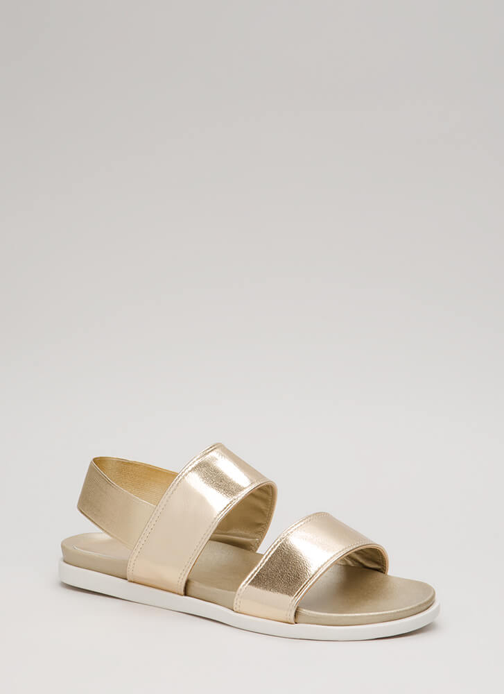 Too Easy Stretchy Metallic Sandals GOLD