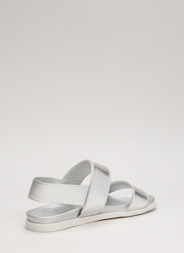 Too Easy Stretchy Metallic Sandals SILVER