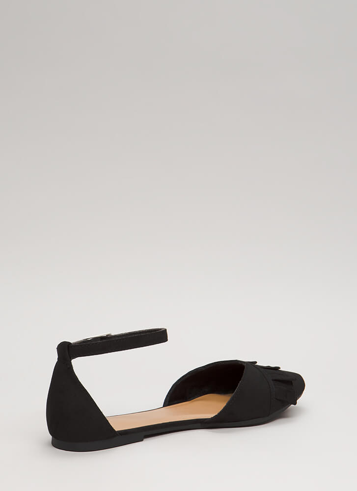 Frilly Weather Ruffled Ankle Strap Flats BLACK